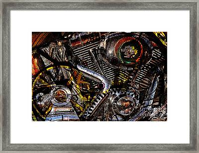 Cyberpunk Harley-davidson Modified In Abstract . 7d12658 Framed Print by Wingsdomain Art and Photography