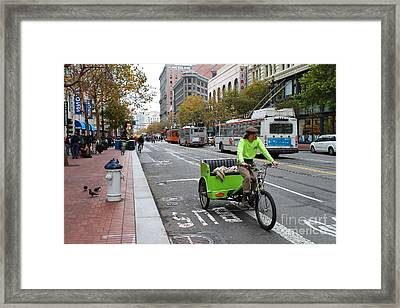 Cycle Rickshaw On Market Street In San Francisco Framed Print by Wingsdomain Art and Photography