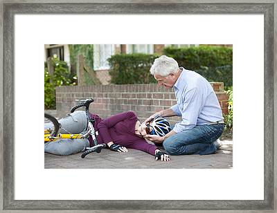 Cycling Accident Framed Print by