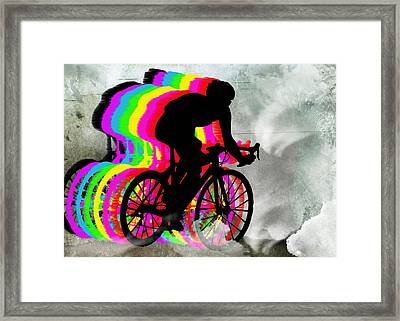 Cyclists Cycling In The Clouds Framed Print by Elaine Plesser