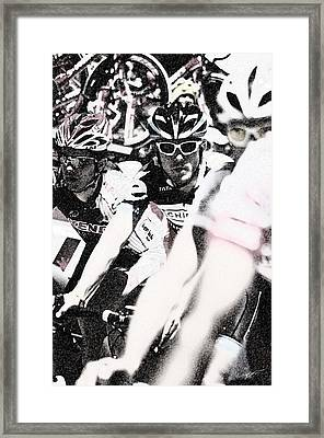 Cycllist In The Peleton Framed Print