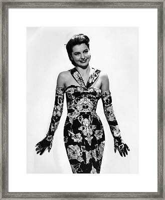 Cyd Charisse Modeling Flowered Evening Framed Print