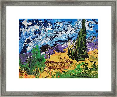 Cypress With Wheat Field After Van Gogh Framed Print