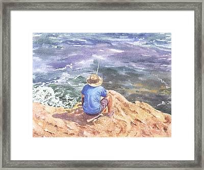 Cyprus Fisherman Framed Print by Maureen Carter