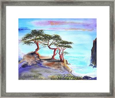 Cyprus Trees On California Coast Framed Print by Susan  Clark