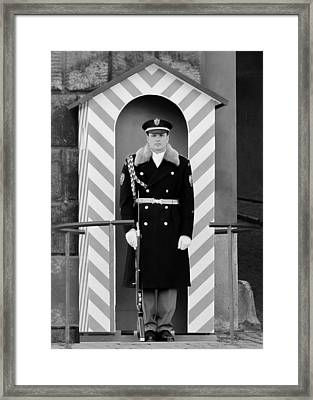 Czech Soldier On Guard At Prague Castle Framed Print by Christine Till