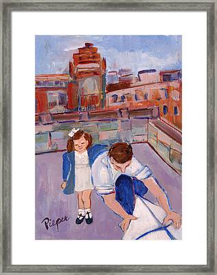 Dad And Me On Rooftop On Hoe Street Brooklyn Framed Print