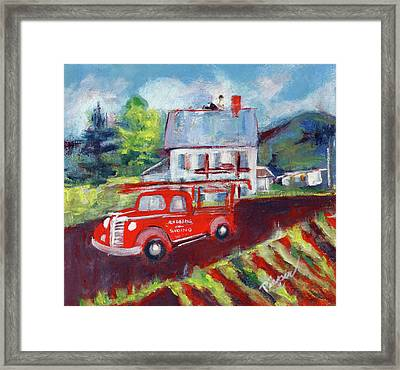 Dad At Work Roofing Framed Print by Elzbieta Zemaitis