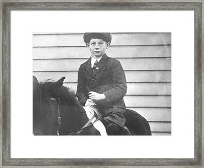 Dad On The Pony Framed Print