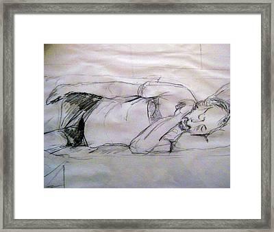 Dad Sleeping Framed Print by Iris Gill