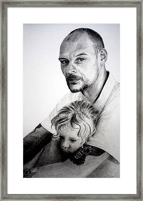 Framed Print featuring the drawing Daddy's Girl by Lynn Hughes