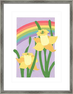 Daffodils And Rainbows II Framed Print by Terry Taylor