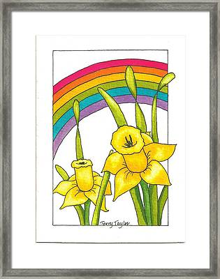 Framed Print featuring the painting Daffodils And Rainbows by Terry Taylor