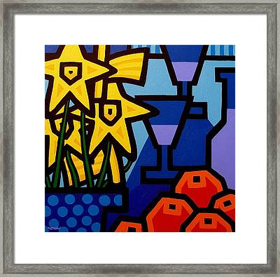 Daffodils Oranges And Wine  Framed Print by John  Nolan