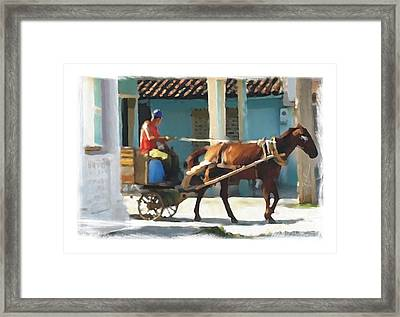daily chores small town rural Cuba Framed Print by Bob Salo