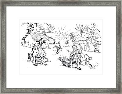 Daily Life In South And Center Cameroon 03 Framed Print by Emmanuel Baliyanga