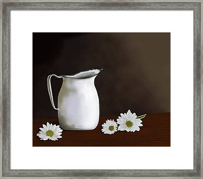 Daisies And Pitcher Framed Print by Tim Stringer