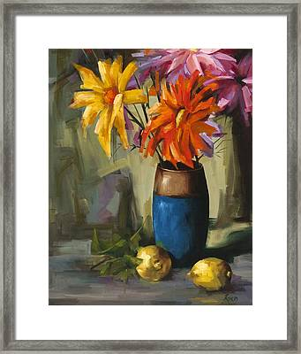 Daisies In Blue Vase Framed Print by Pepe Romero