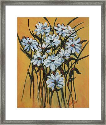 Framed Print featuring the painting Daisies by Pauline  Kretler