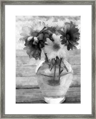 Daisy Crazy Bw Revisited Framed Print by Angelina Vick