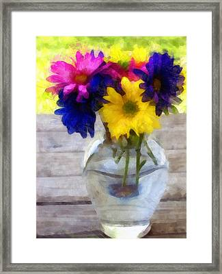 Daisy Crazy Revisited Framed Print by Angelina Vick