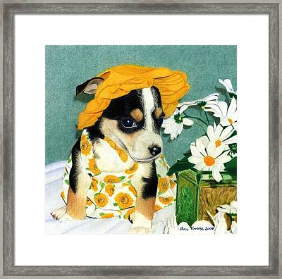 Framed Print featuring the drawing Daisy-mae Dawg by Ana Tirolese