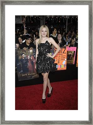 Dakota Fanning Wearing A Valentino Framed Print