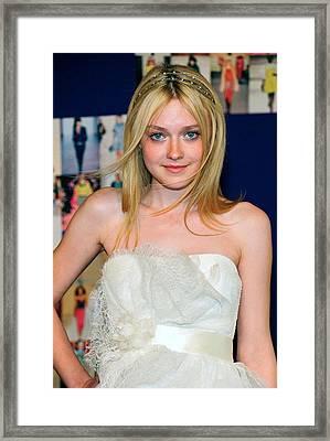 Dakota Fanning Wearing Marchesa Dress Framed Print by Everett