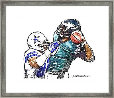 Dallas Cowboy Demarcus Ware - Philadelphia Eagles Michael Vick Framed Print by Jack K
