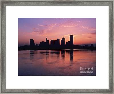 Dallas Skyline At Dawn Framed Print by Jeremy Woodhouse