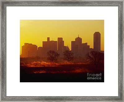 Dallas Skyline At Sunrise Framed Print by Jeremy Woodhouse