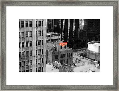 Framed Print featuring the photograph Dallas Texas Red Color Splash Black And White by Shawn O'Brien