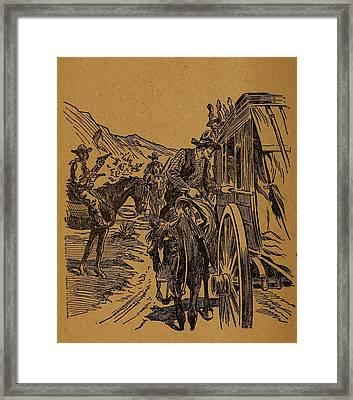 Dalton Gang Robbing A Stage Coach Framed Print by Everett