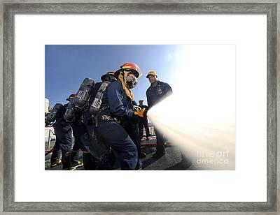 Damage Controlmen Conduct Fire Hose Framed Print