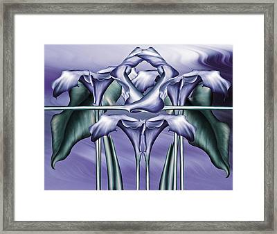 Dance Of The Blue Calla Lilies Iv Framed Print by Georgiana Romanovna