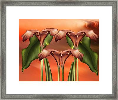 Dance Of The Calla Lilies - Abstract Realism Design Framed Print by Georgiana Romanovna