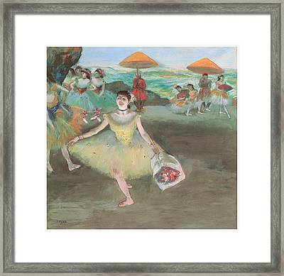 Dancer With A Bouquet Bowing Framed Print by Edgar Degas