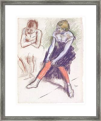 Dancer With Red Stockings Framed Print by Edgar Degas