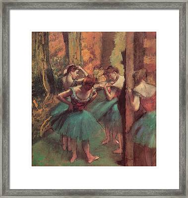 Dancers Pink And Green Framed Print by Edgar Degas