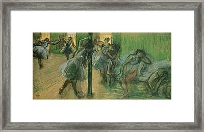 Dancers Rehearsing Framed Print by Edgar Degas