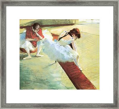 Dancers Resting Framed Print by Edgar Degas