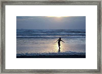 Dancing Boy At Sunset Framed Print