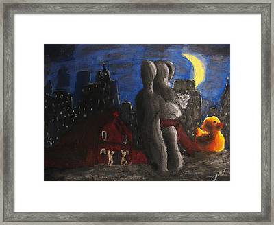 Framed Print featuring the painting Dancing Figures With Barn Duck And Cityscape Under The Moonlight.  by M Zimmerman