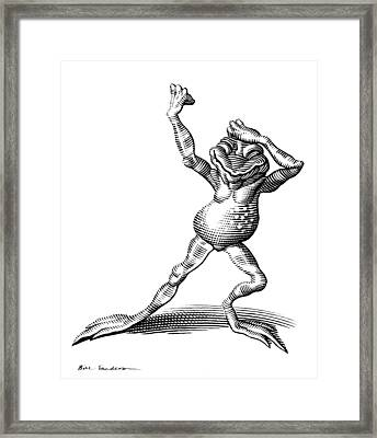 Dancing Frog, Conceptual Artwork Framed Print by Bill Sanderson