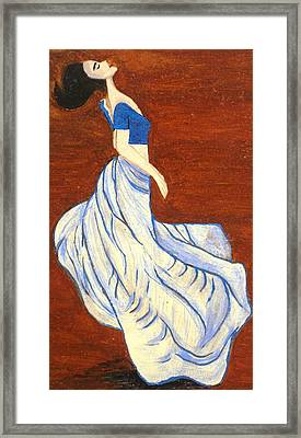 Dancing Girl -acrylic Painting Framed Print by Rejeena Niaz