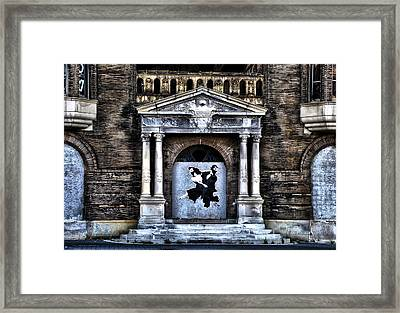 Dancing Ninjas In The Doorway Framed Print by Bill Cannon