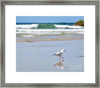 Dancing On The Beach Framed Print by Kaye Menner