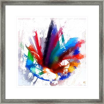 Dancing Peacock Framed Print by Greta Thorsdottir