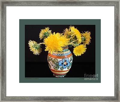 Dandelions In A Vase-ii Framed Print by Patricia Overmoyer
