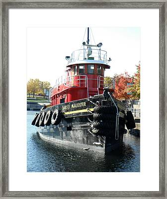 Daniel Mcallister Tug Boat Old Port Montreal Canada Framed Print by Rosie Brown